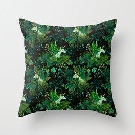 Irish Unicorn in a Garden of Green Throw Pillow