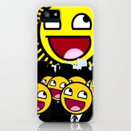 Awesome Smiley Faces Yellow Emoticon                                      iPhone Case