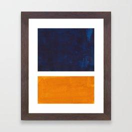 Navy Blue Yellow Ochre Abstract Minimalist Rothko Colorful Mid Century Color Block Pattern Framed Art Print