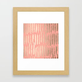 Vertical Dash Tahitian Gold on Coral Pink Stripes Framed Art Print