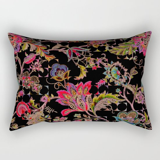 ancient floral on black background Rectangular Pillow