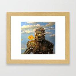 Robot & Flower Framed Art Print