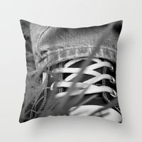 sneakers Throw Pillows featuring Sneakers by Fine2art