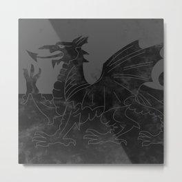 Black Wales Flag Metal Print