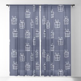 White Christmas gift box pattern on Navy Blue background Sheer Curtain