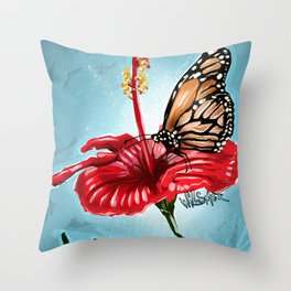 Butterfly on flower 2 Throw Pillow