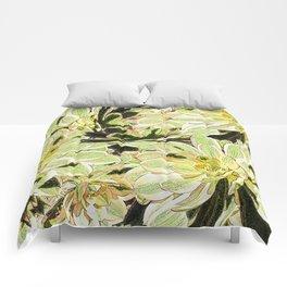 Yellow Desert Echeveria Pattern Comforters