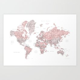 Dusty pink and grey detailed watercolor world map Art Print