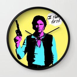 Han Solo: I Shot First Wall Clock