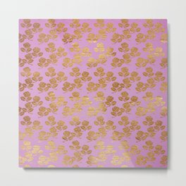 Pink and Faux Gold Foil Roses Metal Print