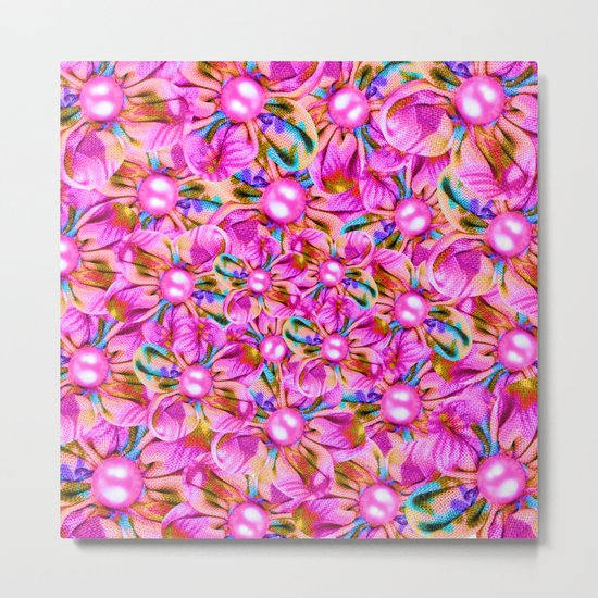 Abstract sewn pink flowers Metal Print