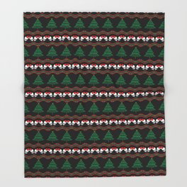 awesome skeletal ugly Christmas sweater Throw Blanket