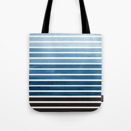 Watercolor Gouache Mid Century Modern Minimalist Colorful Green Blue Stripes Tote Bag