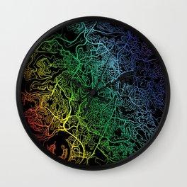 Jerusalem, Israel, City, Map, Rainbow, Map, Art, Print Wall Clock