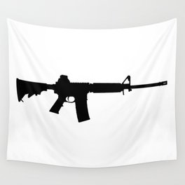 AR15 in black silhouette on white Wall Tapestry