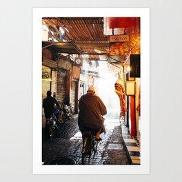 Man on bike Art Print