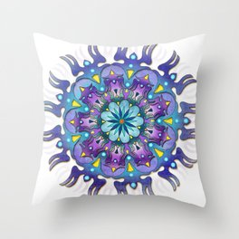 Colored blue mandala Throw Pillow