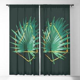 Minimal Tropical Palm Leaf - Palm And Gold - Gold Geometric Shape - Modern Tropical Wall Art - 2 Blackout Curtain