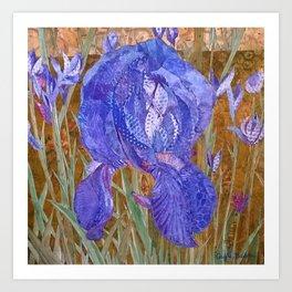 Dottie Blue Iris Collage Art Print