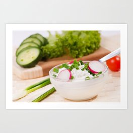 Glass bowl of cottage cheese Art Print