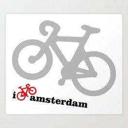I Love Amsterdam - Red Bike Art Print