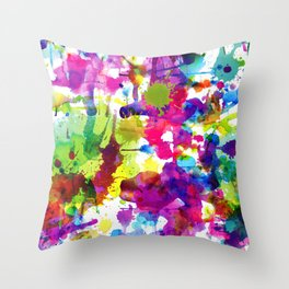 Brightly Colored Paint Splatters Throw Pillow