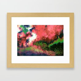 """The Crystal Forest"" (Green/Pink) Digital Painting // Fine Art Print Framed Art Print"