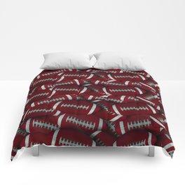 Red Footballs Everywhere Comforters