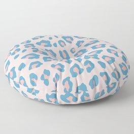 Leopard Print - Peachy Blue Floor Pillow