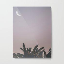 Banana leaves, Moon, Nature, Tropical, Modern, Minimal, Interior, Wall art Metal Print