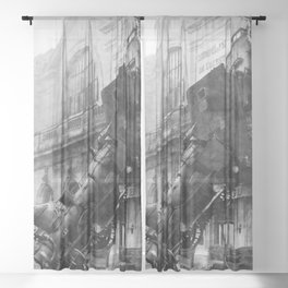 Train Wreck out a French Station Black and White Photographic Art Print Sheer Curtain