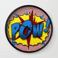lichtenstein Wall Clocks featuring Pop Art Pow in comic Lichtenstein style by Suzanne Barber