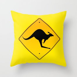 Danger Kangaroos Yellow Sign Throw Pillow
