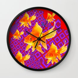 RED & PURPLE GOLDFISH ABSTRACT Wall Clock
