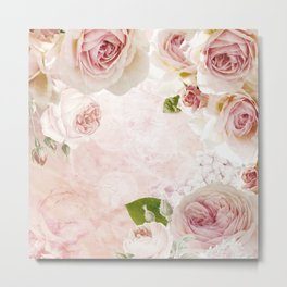 Vintage Flower Pink English Roses Collage Metal Print