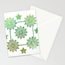 Green Mandalas Stationery Cards