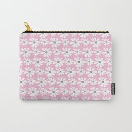 Daisies In The Summer Breeze - Pink Grey White Carry-All Pouch