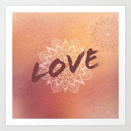 Love et Mandala rose Art Print