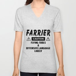 farrier caution flying tools offensive  offensive Unisex V-Neck
