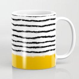 Watercolor Lines Yellow Black Coffee Mug