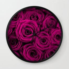 Magenta Roses Wall Clock