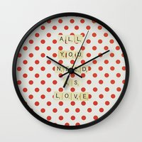 all you need is love Wall Clocks featuring All you need is love by Libertad Leal Photography