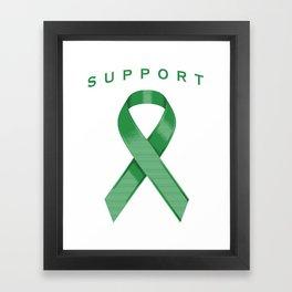 Green Awareness Ribbon Framed Art Print
