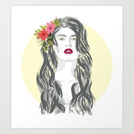 Flower in her hair Art Print