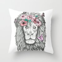 the lion king Throw Pillows featuring Lion King by Sorasoraya