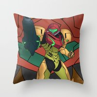 samus Throw Pillows featuring Samus by Bradley Bailey