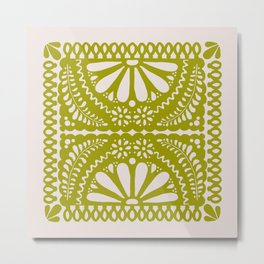 Fiesta de Flores in Lime Metal Print