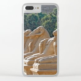 Avenue of the ram-headed Sphinxes in Karnak Temple Clear iPhone Case