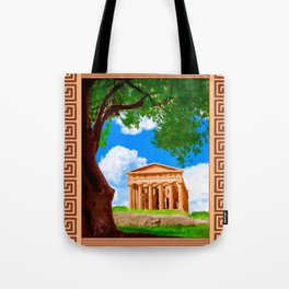Ancient Greek Temple Ruins At Agrigento Tote Bag