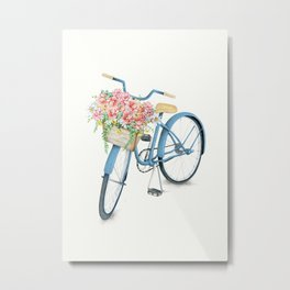 Blue Bicycle with Flowers in Basket Metal Print